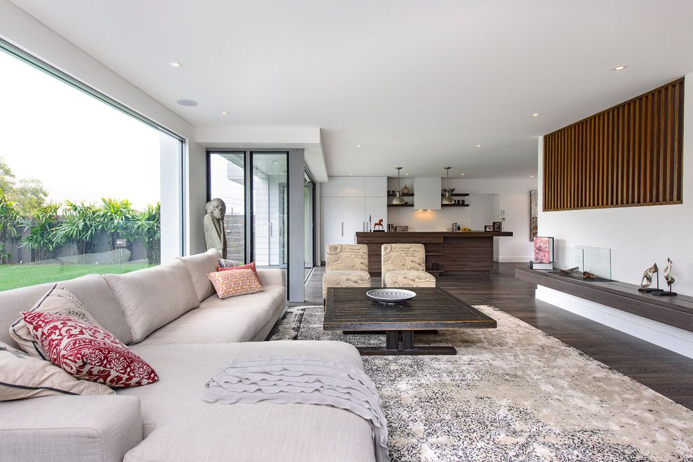Lansing Building Products for a Contemporary Living Room with a Floating Ledge and South Coogee   House by Capital Building