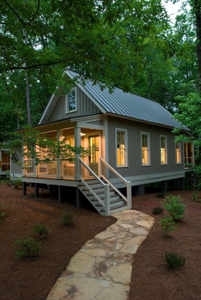 Lansing Building Products for a Rustic Exterior with a Refined Rustic and Camp Callaway by Pine Mountain Builders, Llc