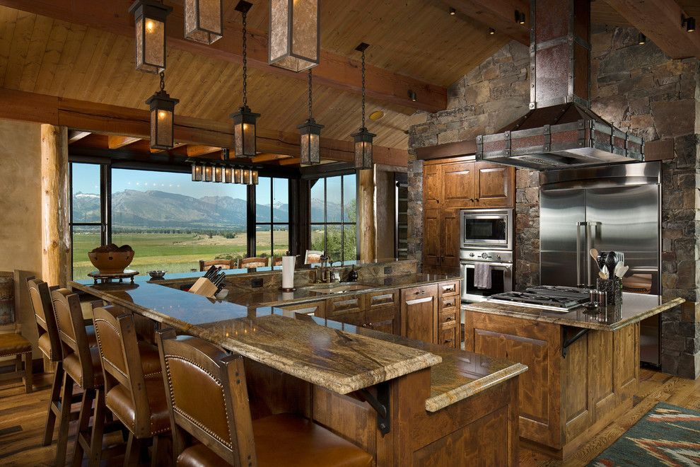 Lapidus Granite for a Rustic Kitchen with a Cooktop and Montana Family Compound by Shannon Callaghan Interior Design