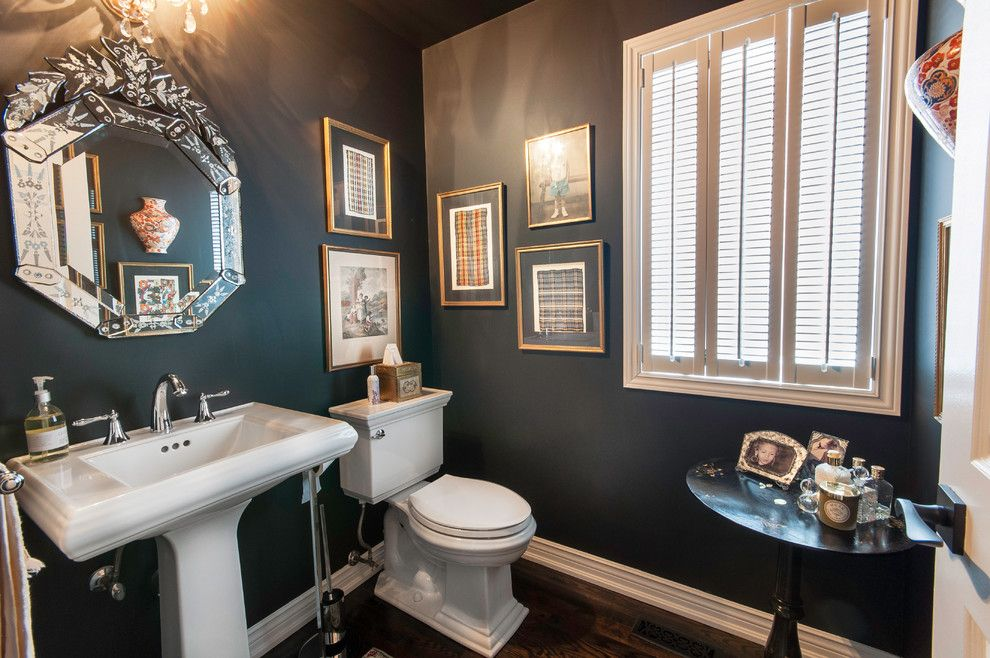 Latham Pool Products for a Traditional Powder Room with a Octagon Mirror and Project Clarkson (Mississauga)   Major Interior Renovation by Royal Home Improvements