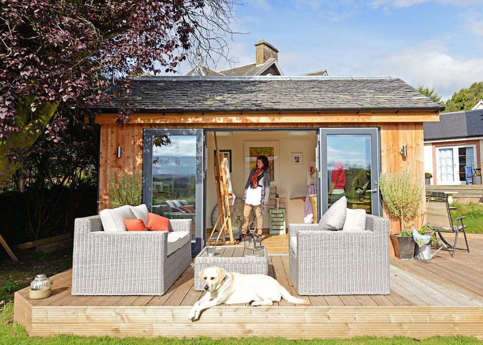 Lavalley Building Supply for a Eclectic Shed with a Home Studio and Garden Studio by Jml Garden Rooms