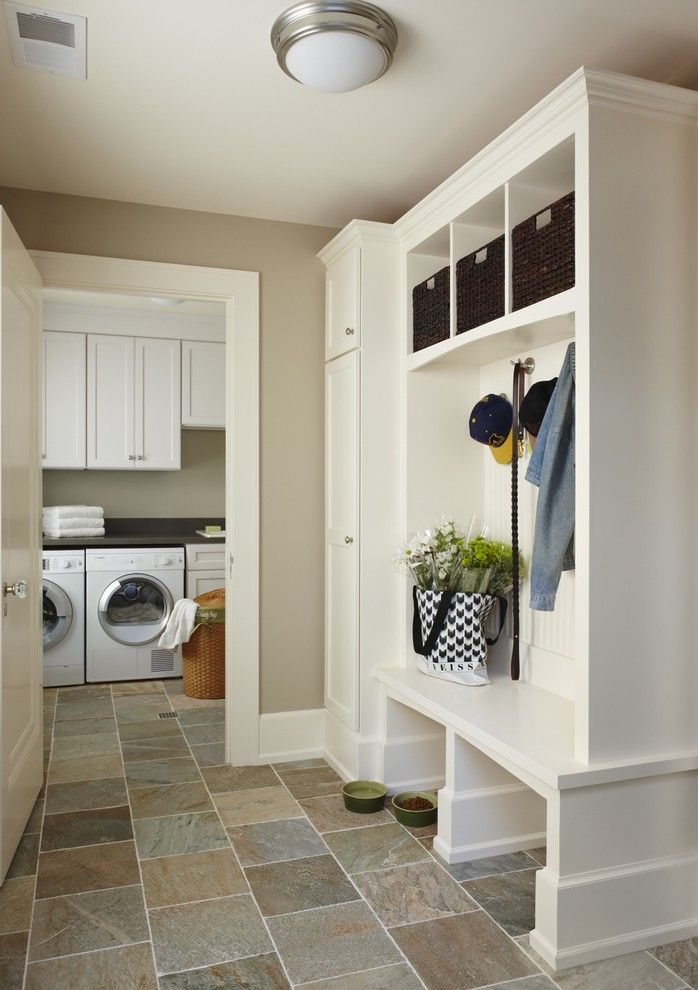 Lavalley Building Supply for a Traditional Laundry Room with a Stone Tile Floors and Birmingham Mud/laundry Room, Mi by Mainstreet Design Build