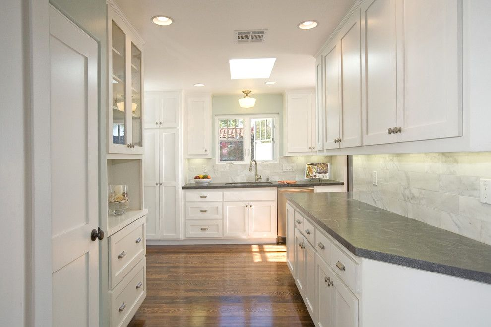 Leathered Granite for a Beach Style Kitchen with a Hutch and El Cerrito Renovation by Stewart Thomas Design Build