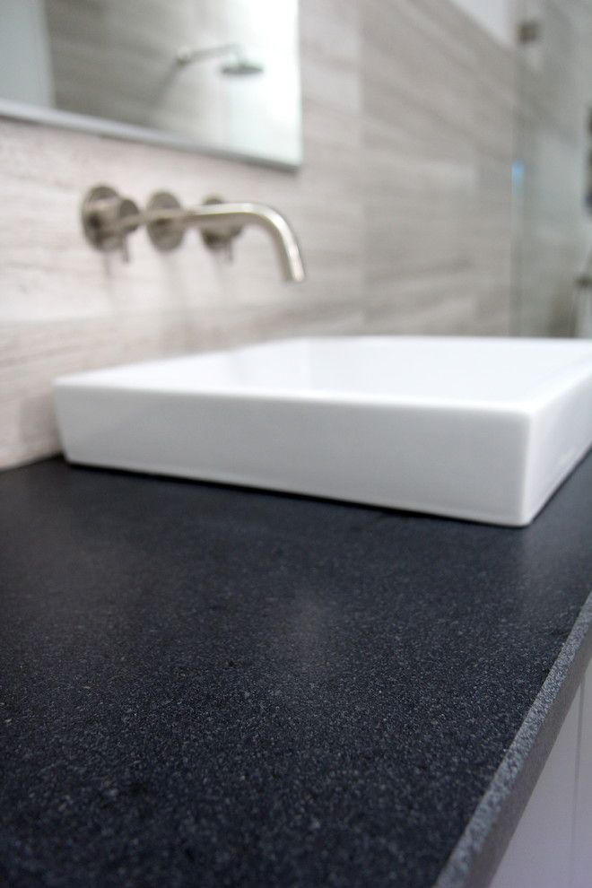 Leathered Granite for a Eclectic Spaces with a Black Granite and Cool Gray by Change Your Bathroom, Inc.