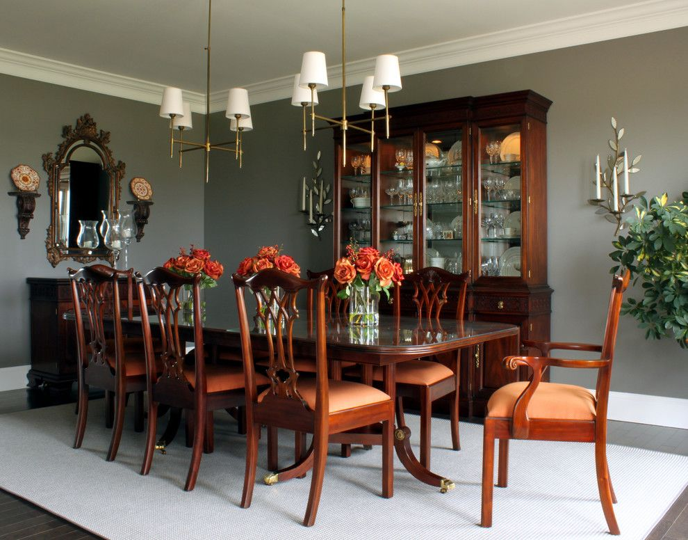 Lee Jofa for a Traditional Dining Room with a White Wood and Traditional Dining Room by Seanmichaeldesign.com