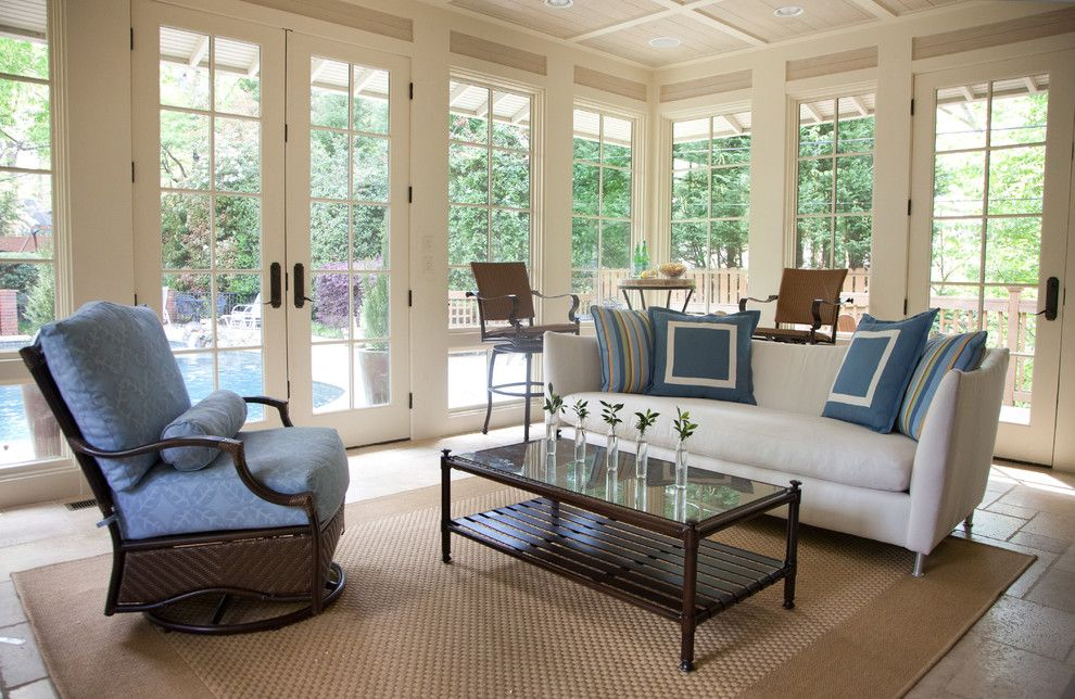 Lee Jofa for a Traditional Pool with a Pool House and Mountain Brook, Al Family Friendly Redesign by Rachel Oliver Design, Llc