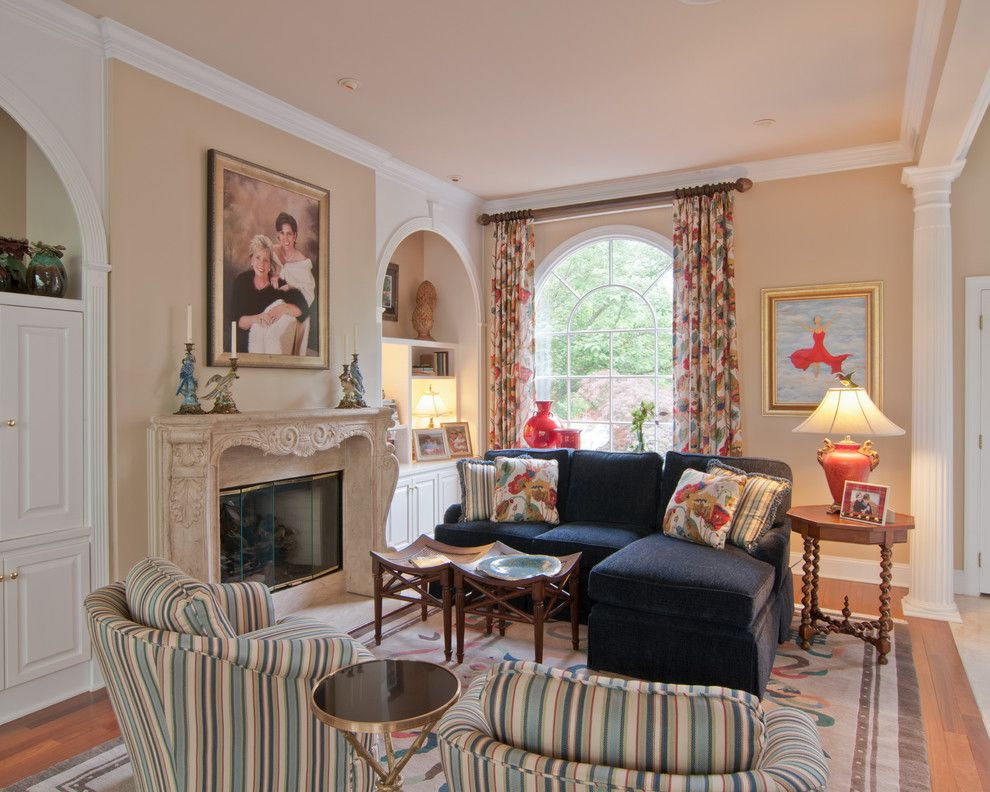 Lee Jofa for a Transitional Family Room with a Hand Tied Area Rug and Treyburn Sitting Room by Sew Fine Ii Custom Window Treatments and Interiors