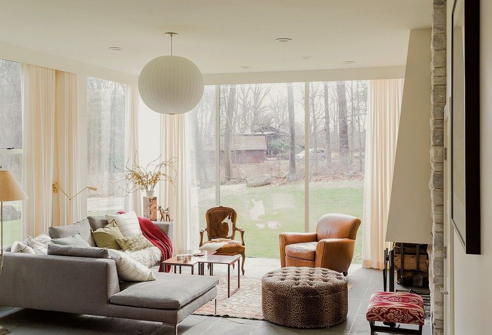 Lee Jofa for a Transitional Living Room with a Slate Floor and Lincoln by Annie Hall Interiors