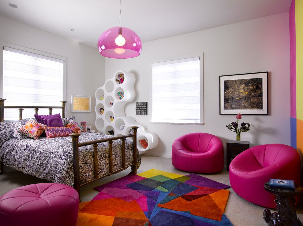 Lefroy Brooks for a Contemporary Kids with a Pink Pendant Light and Teenage Girl's Bedroom by Hollub Homes