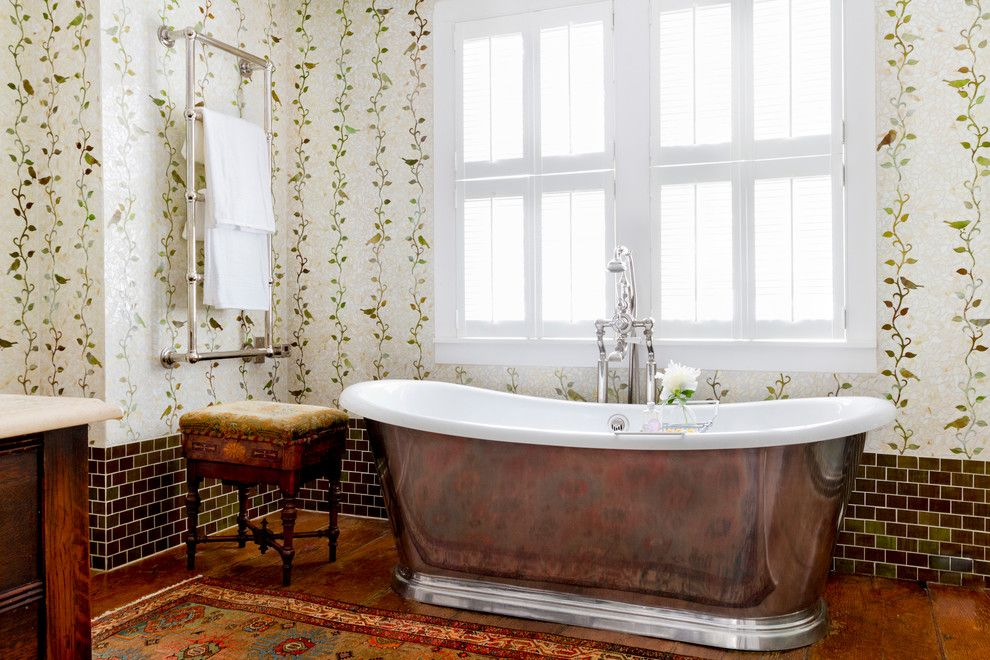 Lefroy Brooks for a Farmhouse Bathroom with a My Houzz and My Houzz: Global Details Add Character to a Connecticut Farmhouse by Rikki Snyder