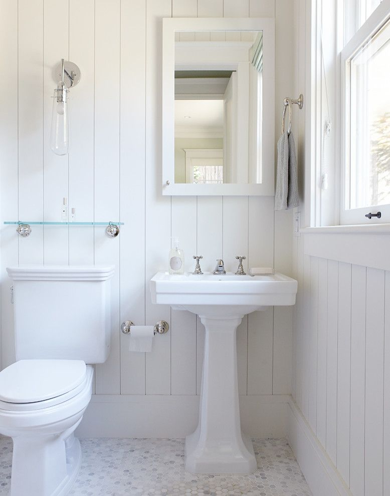 Lefroy Brooks for a Traditional Bathroom with a Bathroom Mirror and Mill Valley Residence by Rasmussen Construction