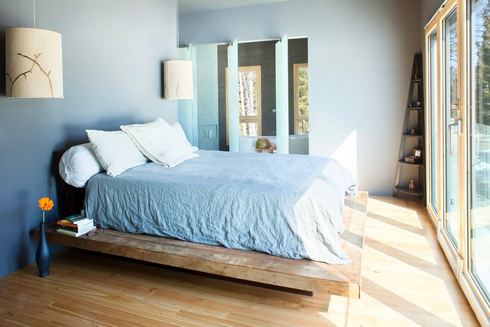 Leirvik Bed Frame for a Contemporary Bedroom with a Wood Bed and Energy Efficiency Model Home by Mindful Designs, Inc.