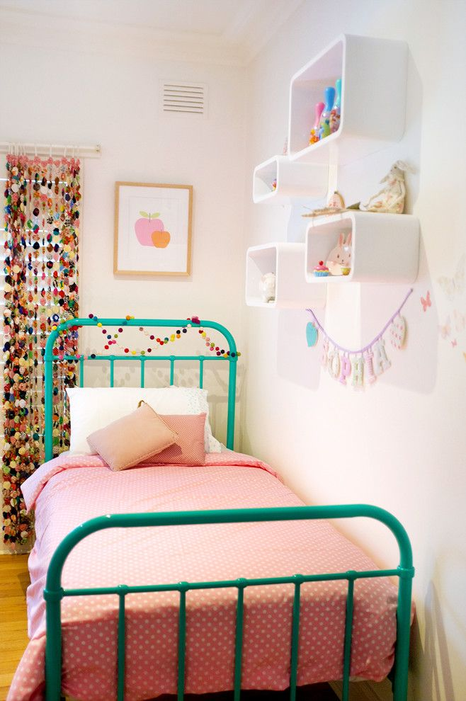 Leirvik Bed Frame for a Contemporary Kids with a Turquoise Bed and Sophia & Luca Shared Room by Hide & Sleep Interior Design