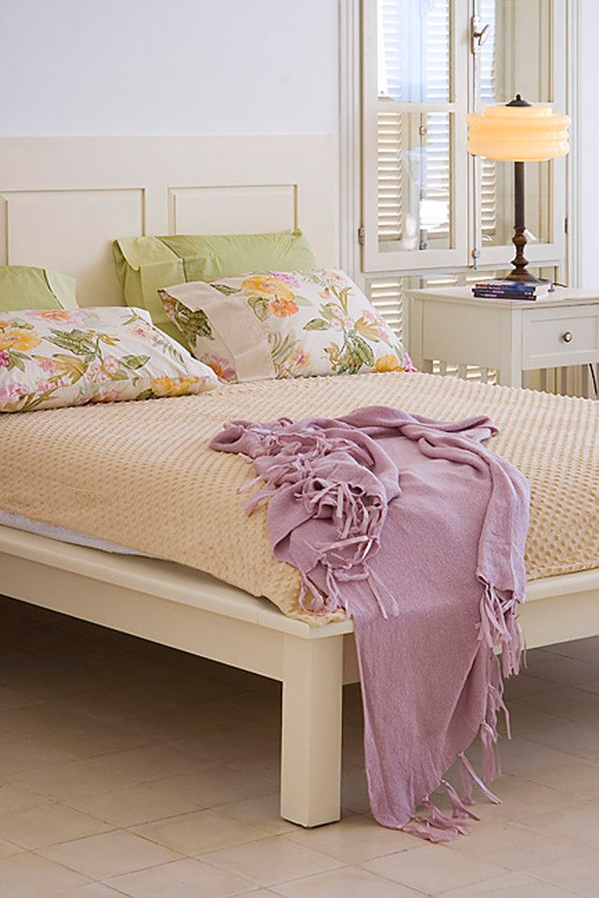 Leirvik Bed Frame for a Shabby Chic Style Bedroom with a Wood Headboard and Bedroom by Elad Gonen