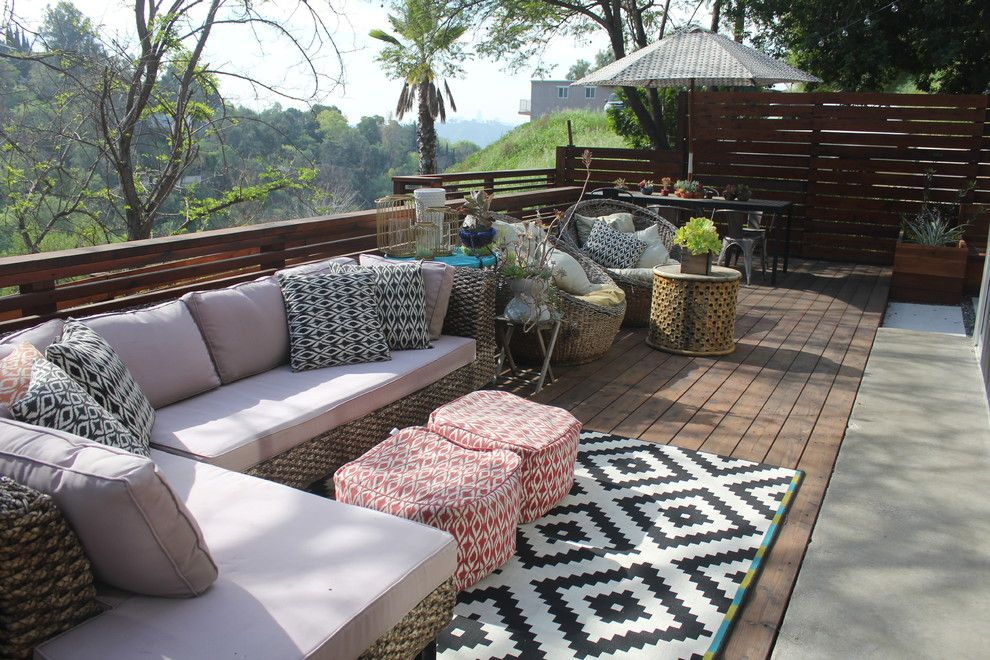 Levins Furniture for a Contemporary Deck with a My Houzz and My Houzz: Cool, Eclectic Style for a Los Angeles Family Home by Stacy Levin