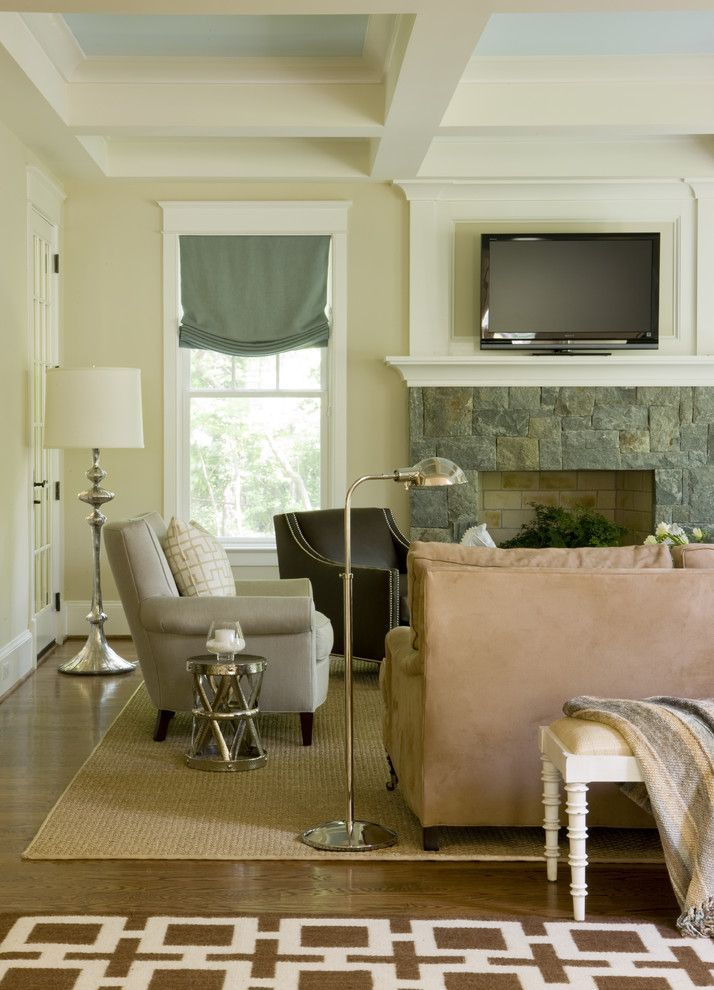 Levins Furniture for a Contemporary Family Room with a Gold Floor Lamp and Bethesda by Liz Levin Interiors