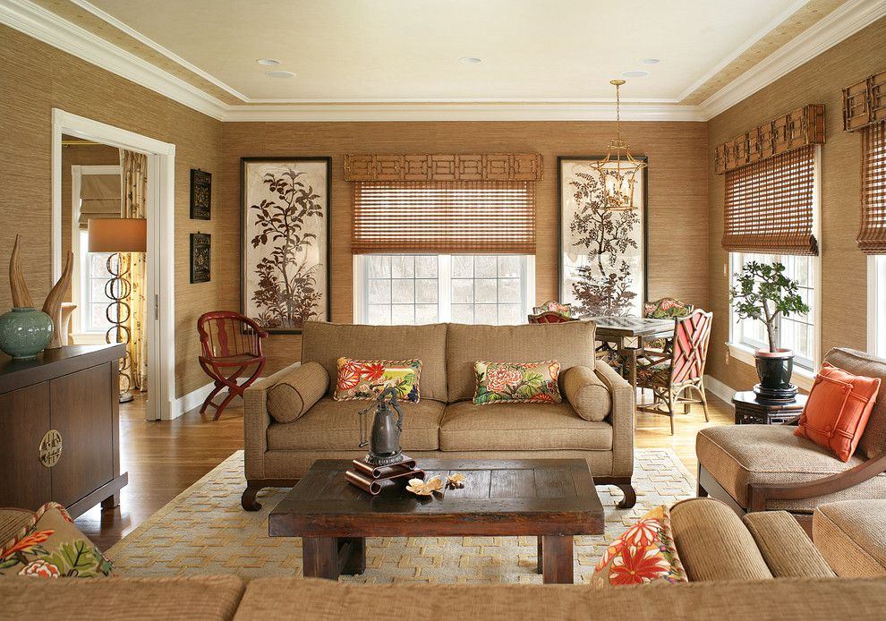 Levins Furniture for a Transitional Family Room with a Roman Shades and Lori Levine Interiors, Inc. by Lori Levine Interiors, Inc.