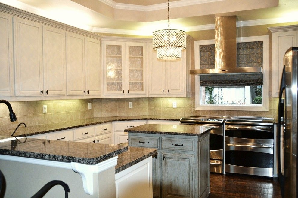Lexington Overstock for a Traditional Kitchen with a Crystal Chandelier Over Island and 2609 Lexington Kitchen by Jcjohnson599