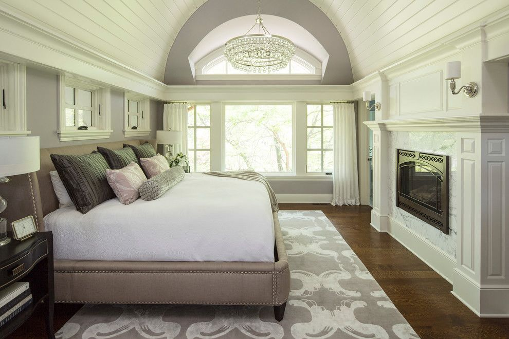 Lexington Overstock for a Transitional Bedroom with a Gray Rug and Bywood Street Residence by Martha O'hara Interiors