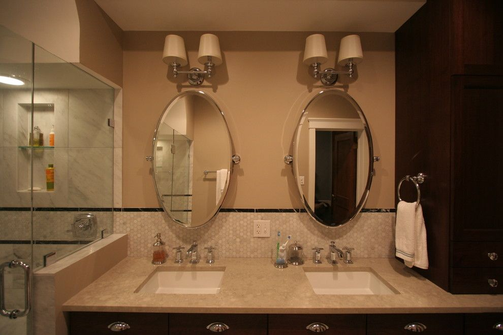 Lg Viatera for a Traditional Bathroom with a Crystal Knobs and Lincoln Park Master Bathroom by Habitar Design