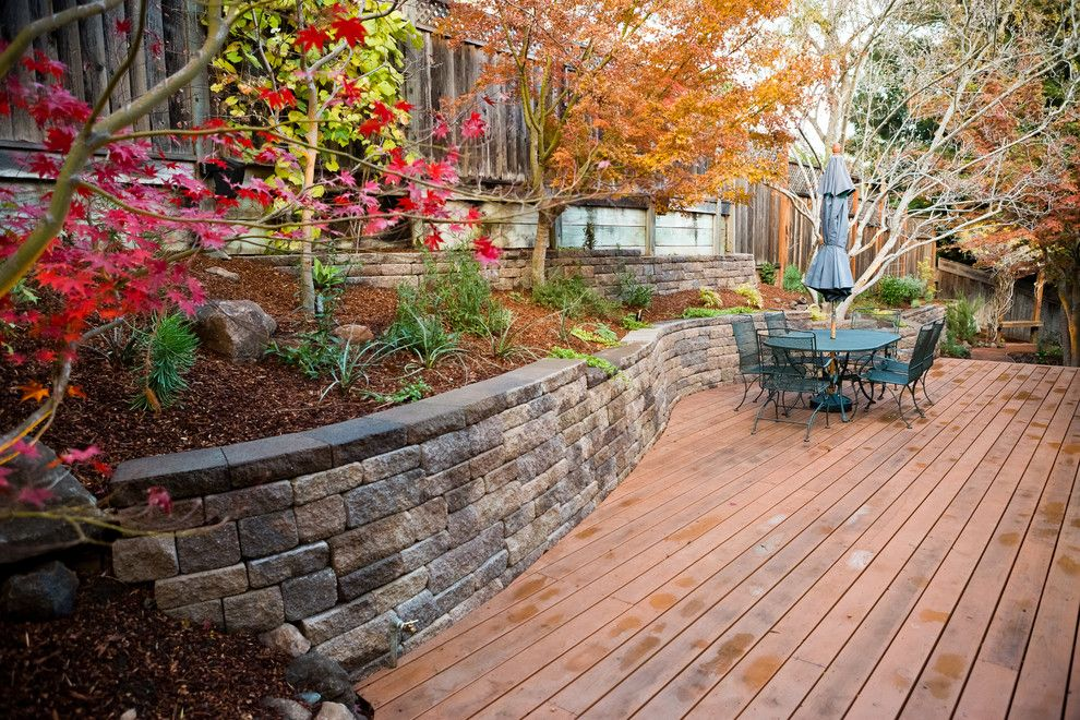 Lifescapes for a Traditional Deck with a Redwood Decking and Los Altos Hills  Rustic Modern by Lifescape Custom Landscaping, Inc.