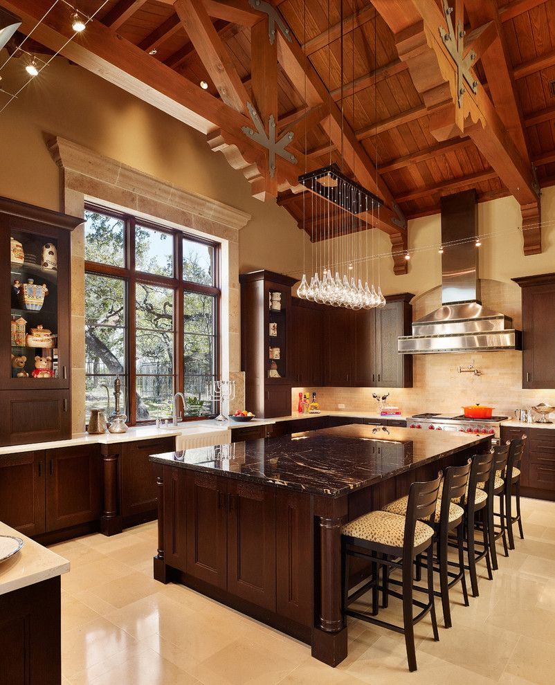 Light Bulb Disposal for a Contemporary Kitchen with a Cathedral Ceiling and Kelian Court by Braswell Architecture, Inc.