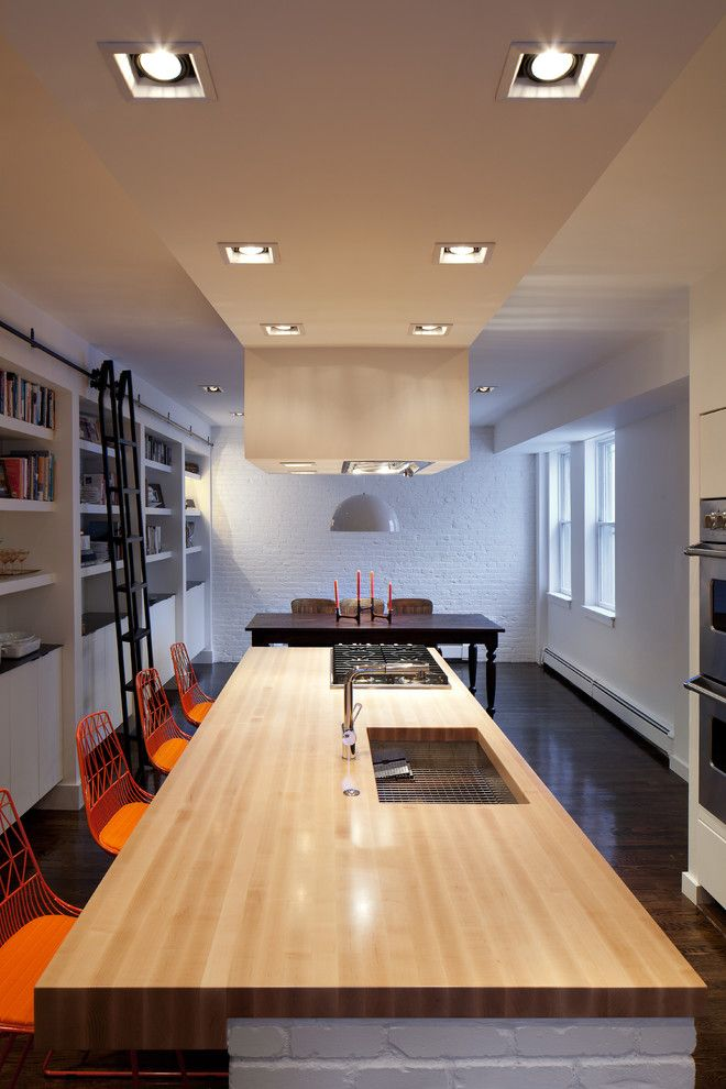 Light Bulb Disposal for a Modern Kitchen with a Library Ladder and Bh1 by Bunker Workshop