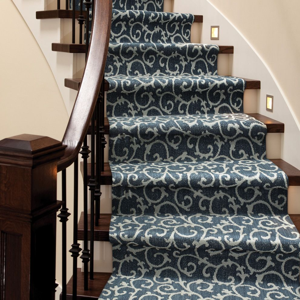 Lighting Emporium for a Contemporary Staircase with a Blue Carpet and Mallorca by Tuftex Carpets of California