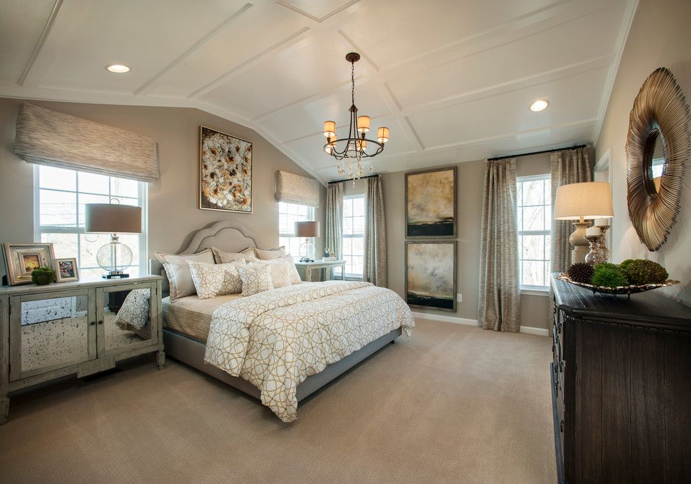 Lighting Emporium for a Transitional Bedroom with a Wall Art and Mainland Square by W.b. Homes, Inc.