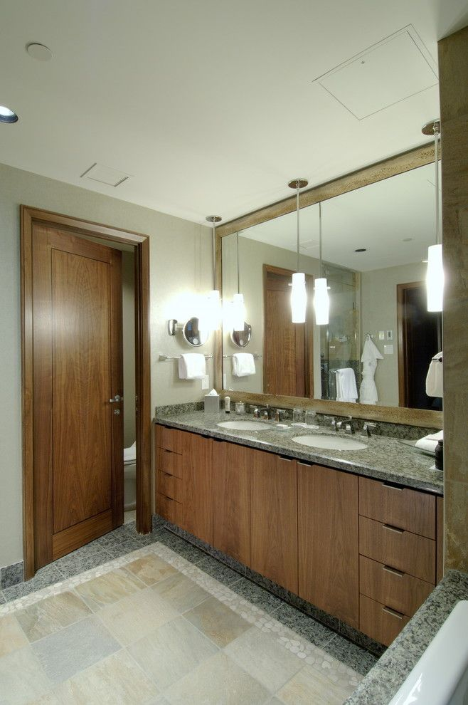 Lightingdirect.com for a Contemporary Bathroom with a Double Vanity and While at Chil Design Group by Claudia Leccacorvi