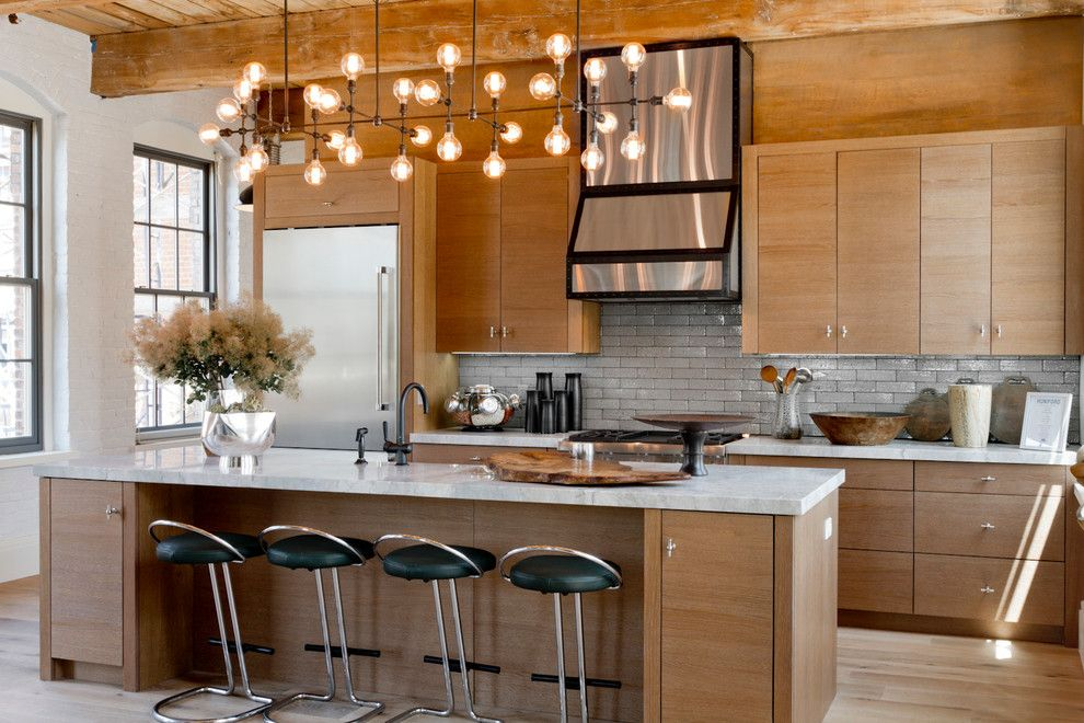 Lightingdirect.com for a Contemporary Kitchen with a White Painted Brick and Huniford Design Studio, Holiday House Hamptons 2014 by Rikki Snyder