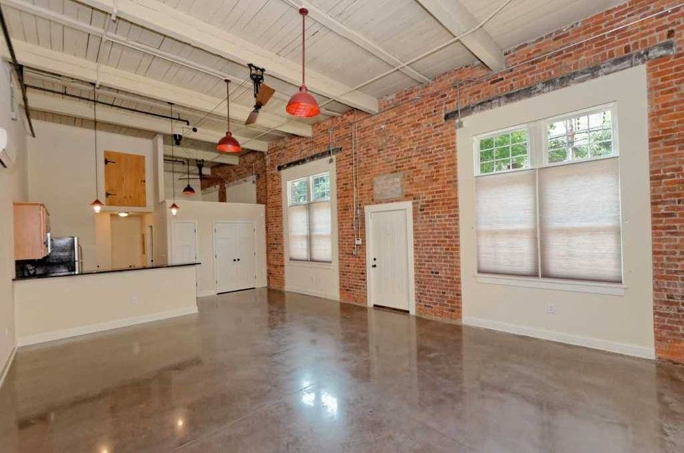 Lightingdirect.com for a Industrial Living Room with a Barn Board and Window Factory Lofts by Viscusi Builders Ltd.