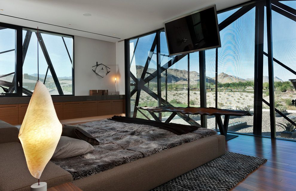 Ligne Roset for a Contemporary Bedroom with a Upholstered Bed and Tresarca by Assemblage Studio