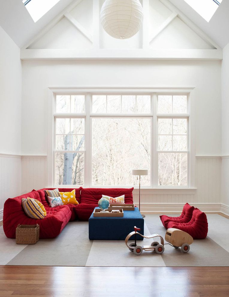 Ligne Roset for a Contemporary Family Room with a Primary Colors and Greenwich 2 by Foley&cox