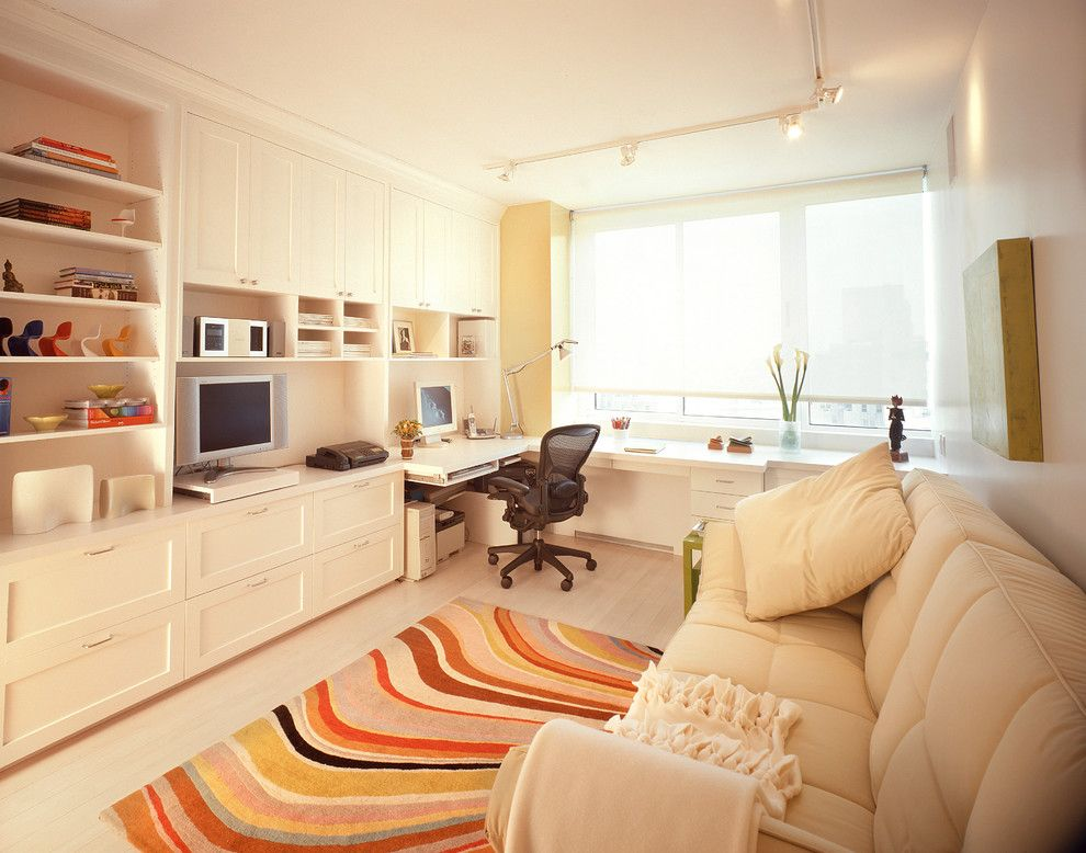 Ligne Roset Nyc for a Contemporary Home Office with a Beige Sofa and Upper East Side   Totally Tailored Urban Oasis by Celia Berliner Design, Llc
