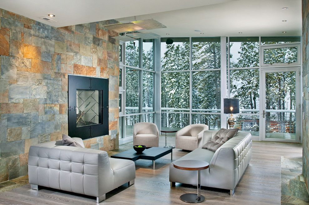 Ligne Roset Nyc for a Contemporary Living Room with a Corner Windows and New Mood Design by New Mood Design Llc