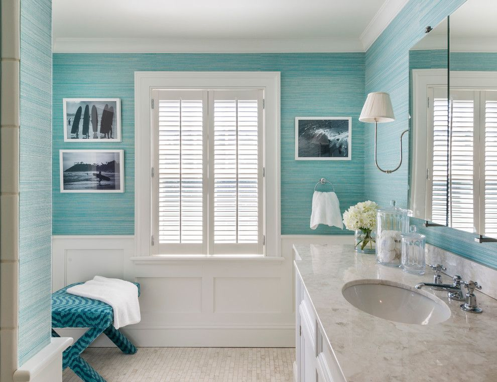 Lilly Pulitzer Wallpaper For A Beach Style Bathroom With A Beach Cottage  And My Work: Shinglestyle Beach House By Kate Jackson Design