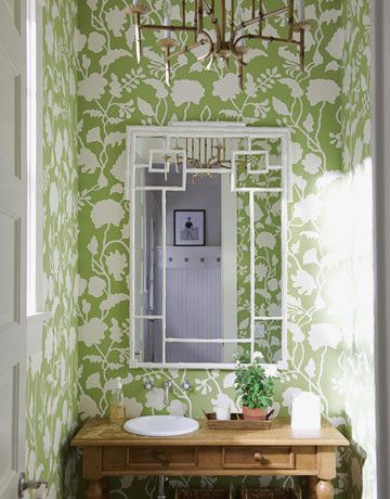 Lilly Pulitzer Wallpaper for a Traditional Bathroom with a Traditional and Powder Rooms by Delishhh Blog