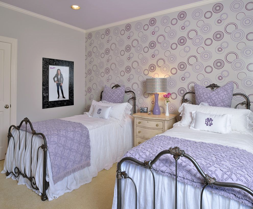 Lilly Pulitzer Wallpaper for a Traditional Kids with a Purple Bedding and Teen Bedrooms by Laura Manchee Designs