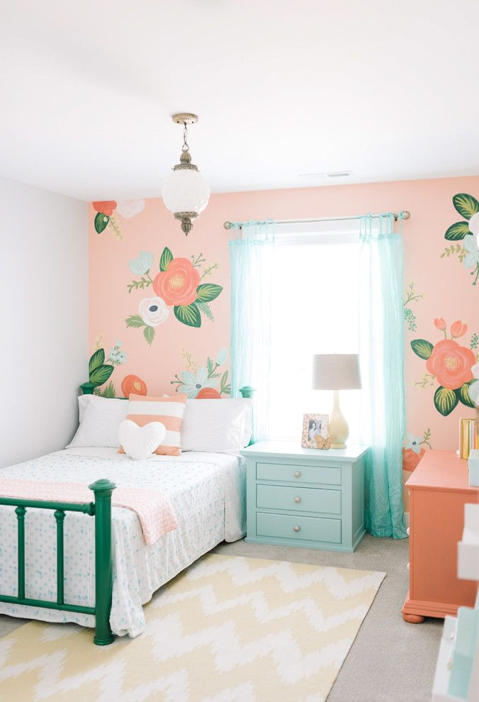 Lilly Pulitzer Wallpaper for a Traditional Kids with a Whimiscal Floral Wall and Whimsical Floral Girls Bedroom by Design Loves Detail by Design Loves Detail