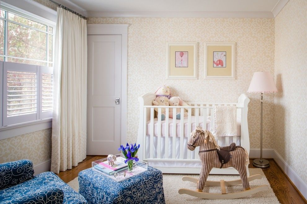 Lilly Pulitzer Wallpaper for a Traditional Nursery with a Ottoman and Nursery by Palindrome Design, Llc