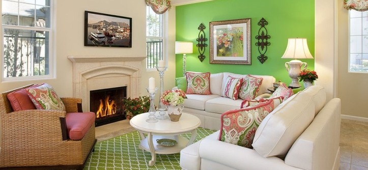Lime Lush Boutique for a Transitional Living Room with a Fireplace and Model Home Living Room by Borden Interiors & Associates