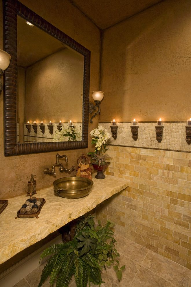 Linkasink for a Mediterranean Bathroom with a Light Fixtures and Elegant Bathrooms in the Texas Hill Country by Stadler Custom Homes by Stadler Custom Homes