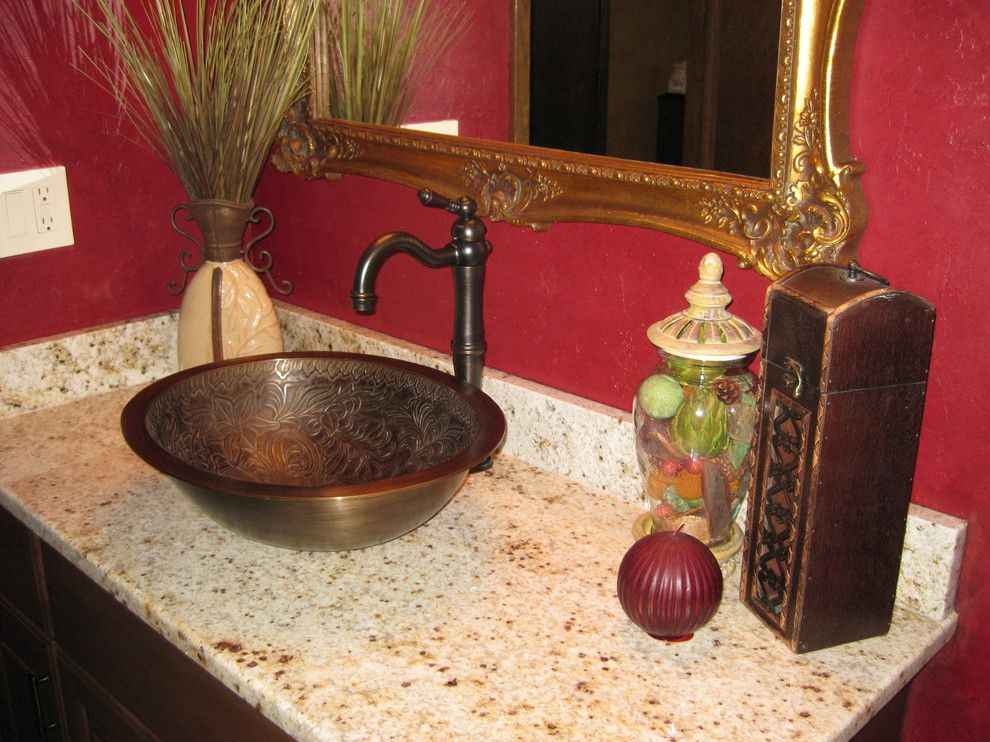 Linkasink for a Traditional Bathroom with a Vanity and Waukesha   Tuscan Powder Room Remodel by Colleen Horner Design Studio