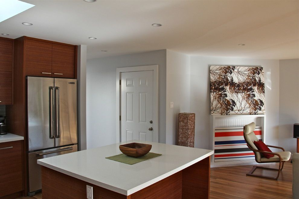 Linnea Hardware for a Modern Kitchen with a Dining Room Design and Kitchen and Dining/living Room Remodel by Cardea Building Co.