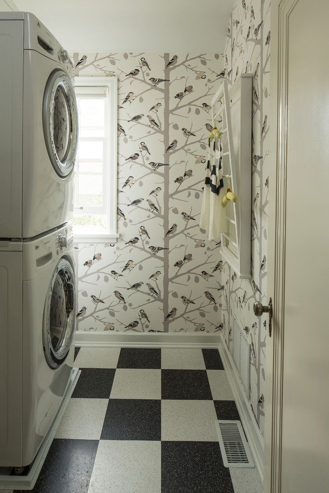 Linoleum vs Vinyl for a Eclectic Laundry Room with a Beige Molding and Montcalm Remodel by Lucy Interior Design