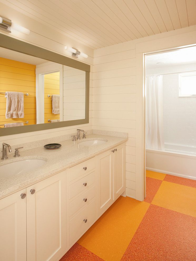Linoleum vs Vinyl for a Traditional Bathroom with a Bathroom Mirror and Guest Bathroom by Whitten Architects