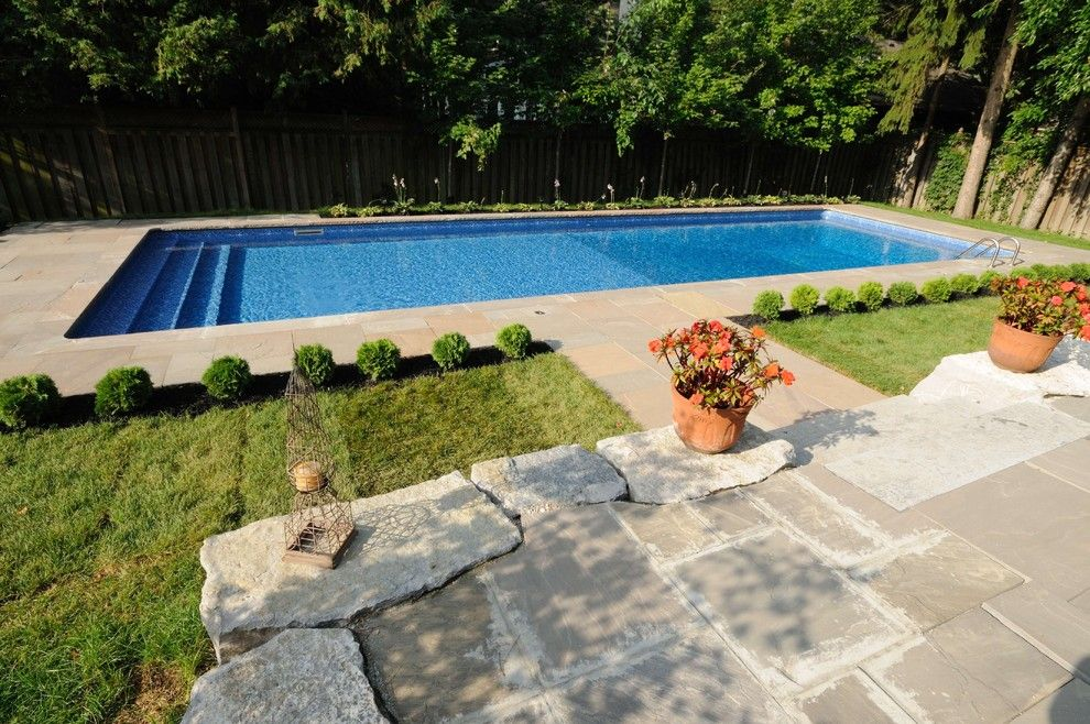 Linoleum vs Vinyl for a Traditional Pool with a Rectangular Pool and Custom Vinyl Lined Pools by Gib San Pools Ltd.
