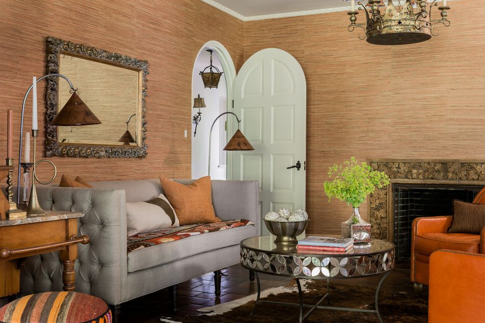Living Room Color Schemes for a Mediterranean Living Room with a Tufted Sofa and Weston, Ma  Residence by Andra Birkerts Design