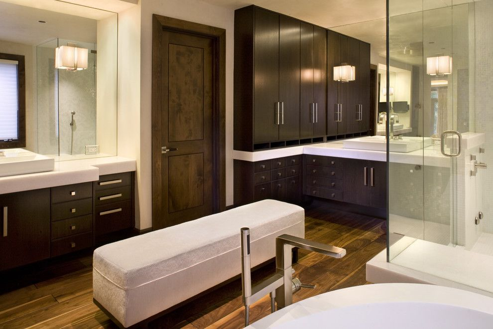 Lockwood Flooring for a Modern Bathroom with a Modern and Master Bath by Paxton Lockwood